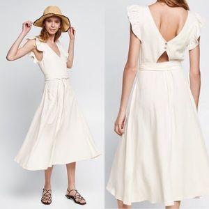 NWT Zara Linen Frilly Midi Dress